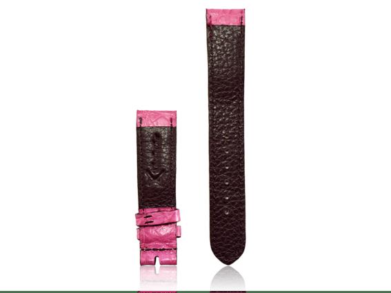 Dây đồng hồ da cá sấu size 18 hồng phấn