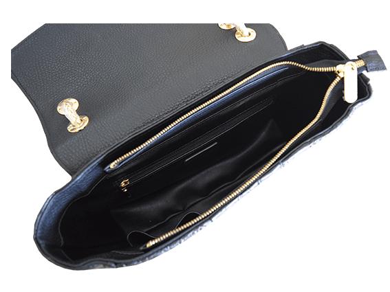 Túi da cá sấu Fosan đen khóa vàng