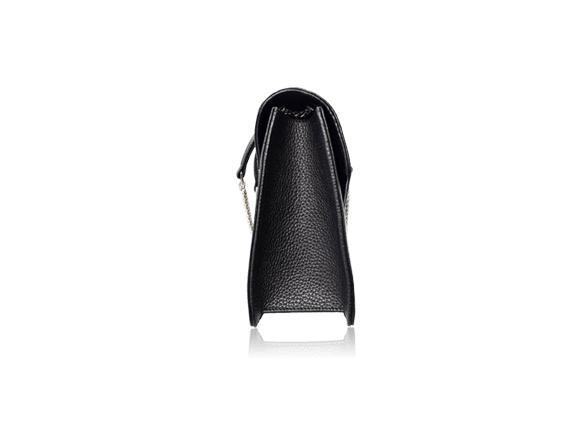 Túi da bò Sunvi đen khóa trắng