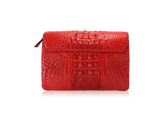 Túi da cá sấu Sunvi đỏ khóa trắng