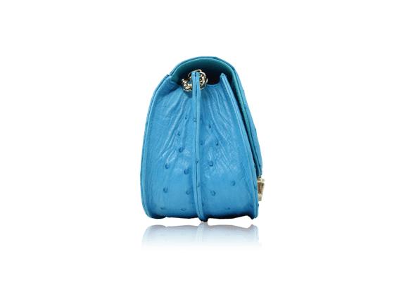 Túi xách da đà điểu Catsa xanh da trời