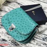 Túi xách da đà điểu Catsa xanh lá