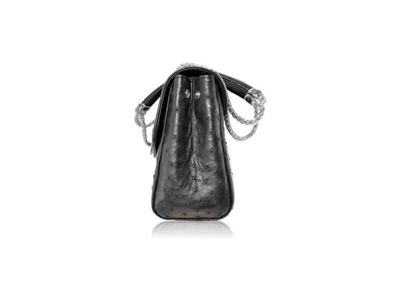 Túi da đà điểu Fosan đen khóa trắng