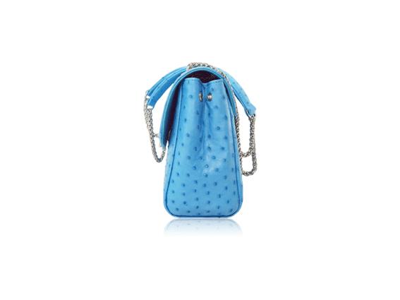Túi da đà điểu Fosan xanh biển khóa trắng