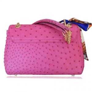 Túi da đà điểu Fosan hồng khóa vàng