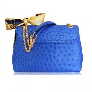 Túi da đà điểu Fosan xanh dương khóa vàng