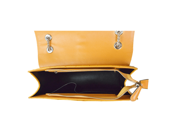Túi da đà điểu Sunvi vàng khóa trắng