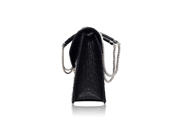 Túi da đà điểu Sunvi đen khóa trắng