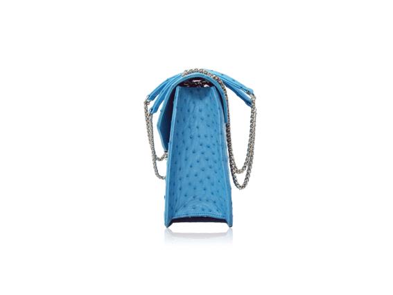 Túi da đà điểu Sunvi xanh biển khóa trắng