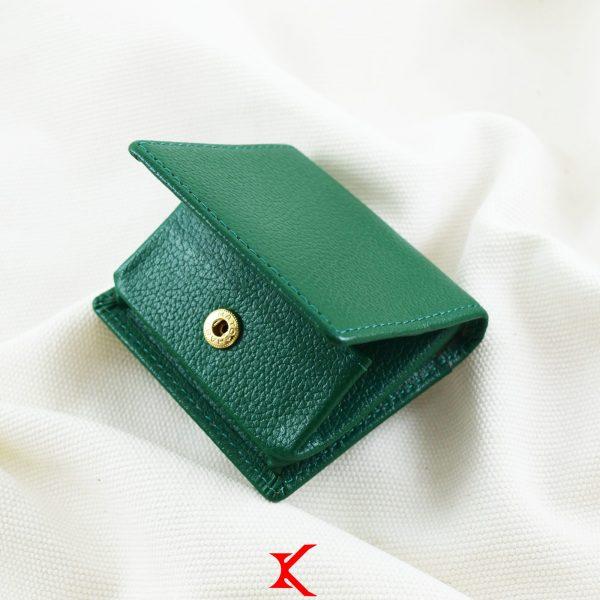 Ví nhỏ da bò Hoty hộp xanh lá