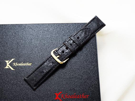 Dây đồng hồ da đà điểu size 18 đen