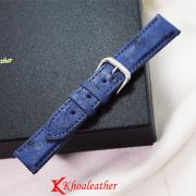 Dây đồng hồ da đà điểu size 20 xanh dương