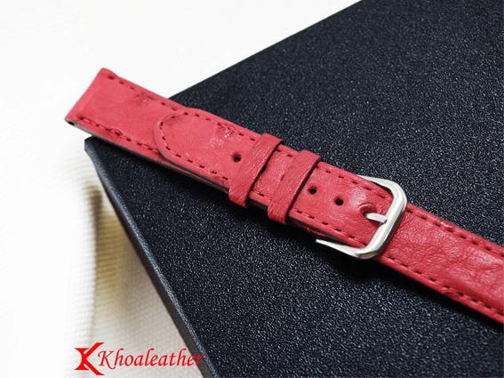 Dây đồng hồ da đà điểu size 18 hồng
