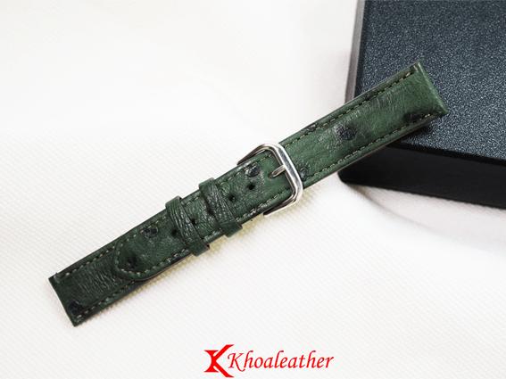 Dây đồng hồ da đà điểu size 18 xanh lá
