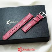 Dây đồng hồ da đà điểu size 18 hồng tím