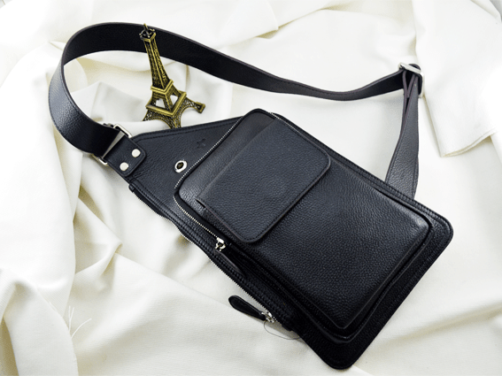 Túi đeo da bò Daru đen
