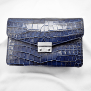 Túi cầm tay da cá sấu Havey xanh dương trơn