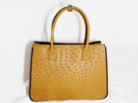 Túi xách da đà điểu Alissa vàng