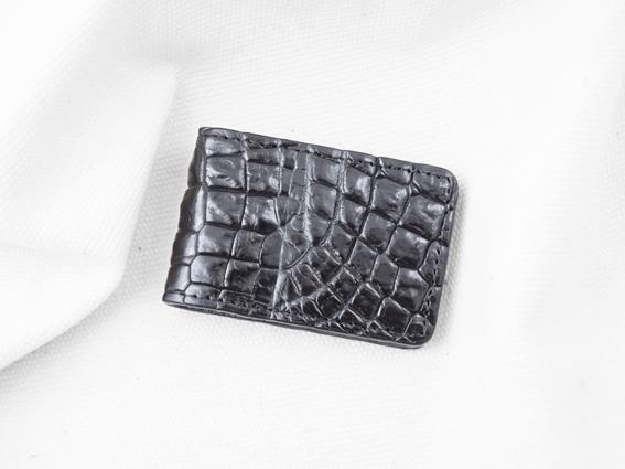 Kẹp tiền da cá sấu Ruvan may viền đen