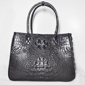 Túi xách da cá sấu Alissa đen