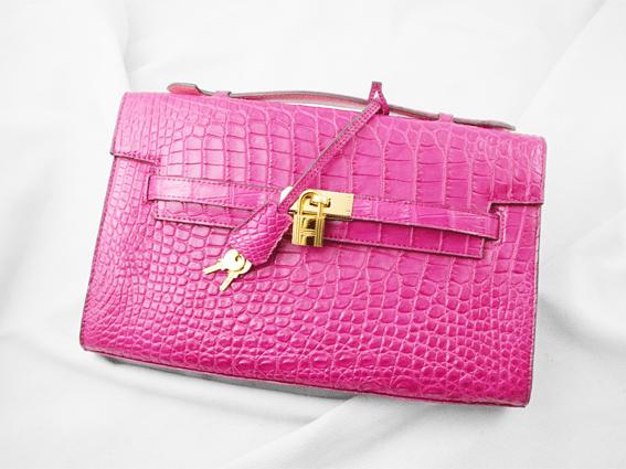Túi xách da cá sấu Mexi hồng