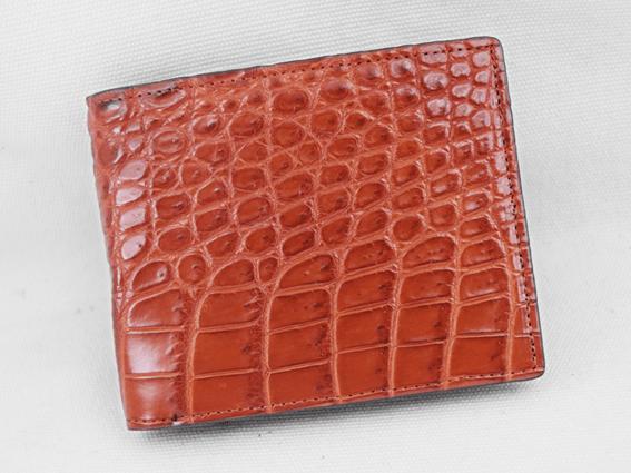 Bóp nam cá sấu cao cấp nâu đỏ 1 trơn