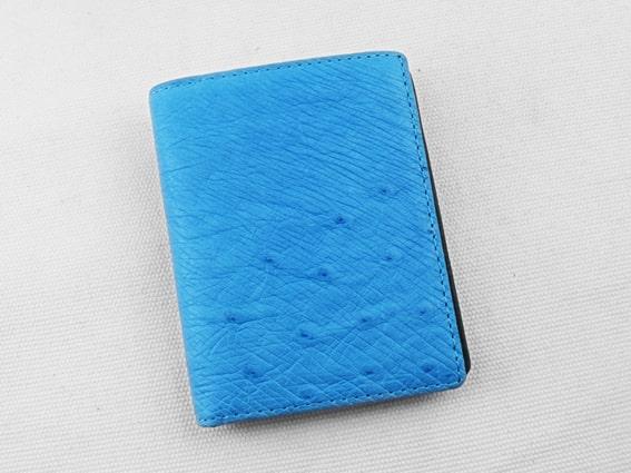 Ví da đà điểu Tihan xanh biển hột