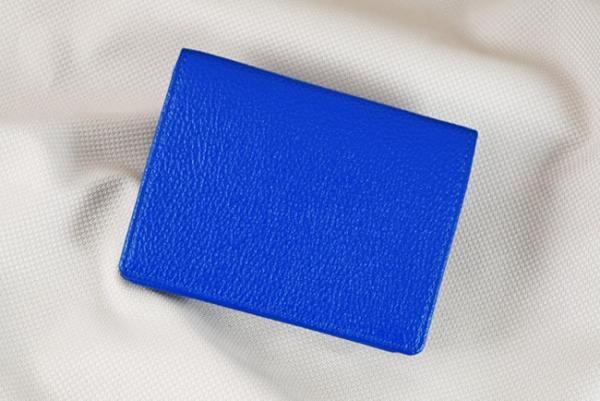 Ví nhỏ da bò Tihan xanh dương