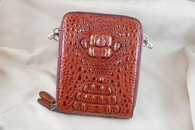 Túi đeo da cá sấu Sanba nâu đỏ gù