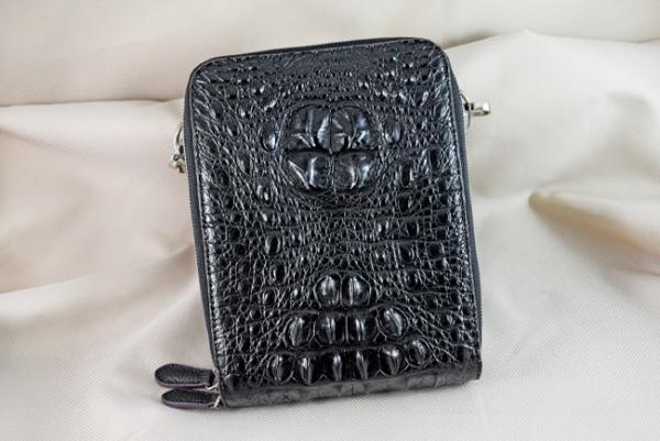 Túi đeo da cá sấu Sanba đen gù
