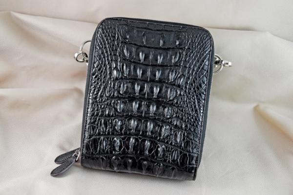 Túi đeo da cá sấu Sanba đen gai