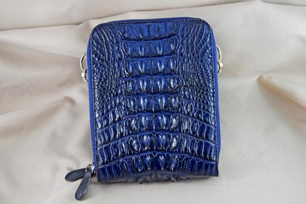 Túi đeo da cá sấu Sanba xanh dương gai