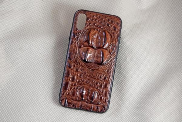 Ốp lưng da cá sấu Iphone X/XS gù nâu đỏ