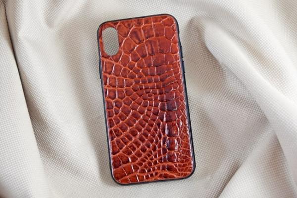 Ốp lưng da cá sấu Iphone XS nâu đỏ