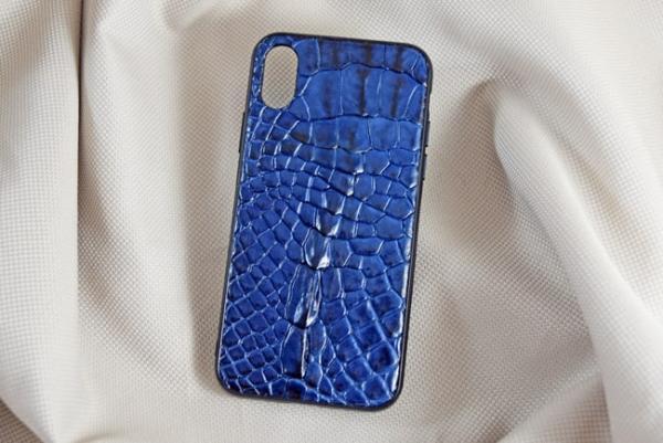Ốp lưng da cá sấu Iphone XS xanh dương