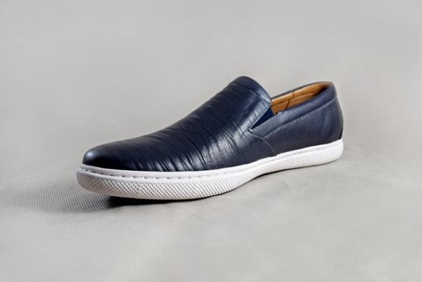 Giày nam da bò 654 xanh dương
