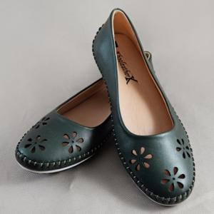 Giày nữ da bò 698 xanh rêu