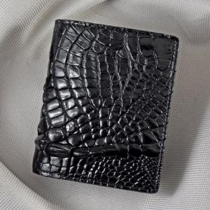 Bóp nam đứng da cá sấu đen 02