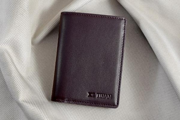 Ví nhỏ da bò Logo Tihan nâu