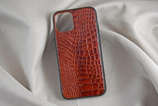 Ốp lưng da cá sấu Iphone 11 Pro nâu đỏ