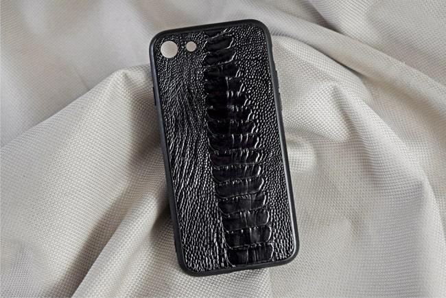 Ốp lưng da đà điểu Iphone 7 đen