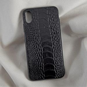 Ốp lưng da đà điểu XS Max đen