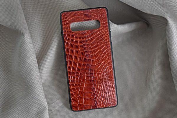 Ốp lưng da cá sấu Samsung S10 Plus nâu đỏ