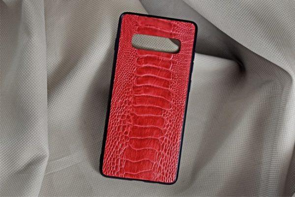 Ốp lưng da đà điểu Samsung S10 Plus đỏ