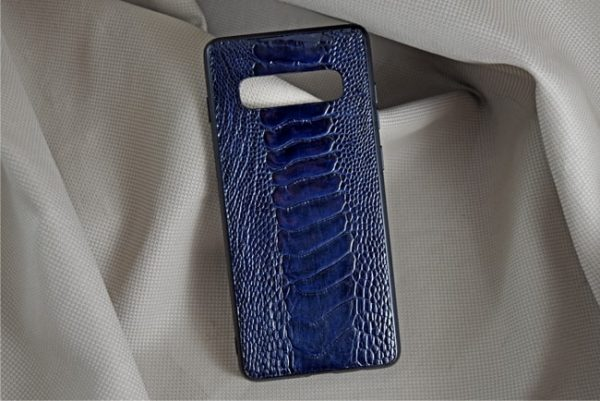 Ốp lưng da đà điểu Samsung S10 Plus xanh dương